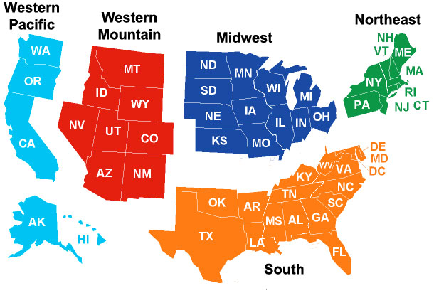Us States On Map - Map southern states us